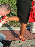 Mature hot mistress gets her feet adn high heels cleaned outdoors