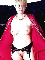 Busty mature slut getting undressed on pictures