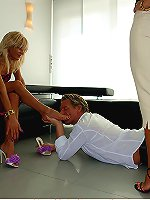 Naughty mature whores dominate sissy dude with her dirty feet