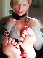 Nasty cougar is ready to give you a footjob